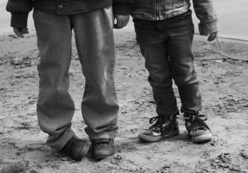 Children on the beach, social theme